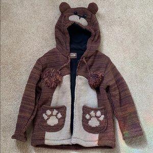 Teddy bear knit fleece kids jacket - ADORABLE